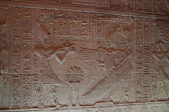 Photo: Isis temple at Philae - sanctuary - Ptolemy II offering to ? protected by Isis