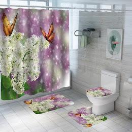 Set pentru baie: perdea, covorase si husa de toaleta, Jasmine