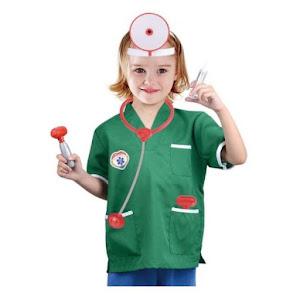 Costum doctor copii, halat verde, accesorii incluse