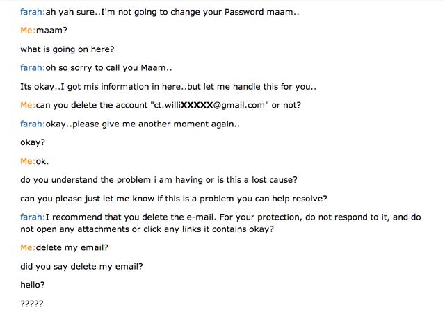 ejemplo de mal servicio al cliente en un chat