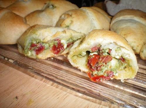Chicken, Feta, Pesto and Sun-Dried Tomato Stuffed Croissant