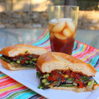 Grilled Vegetable Sandwich with Tomato-Bacon Jam.