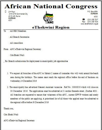 Job Application Form Ethekwini Munility on