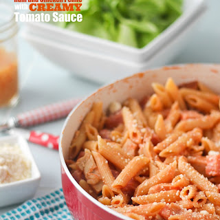 One Pot Ham and Chicken Penne with Creamy Tomato Sauce