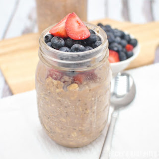 Berry Chocolate Protein Overnight Oats.