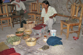 Photo: Teotitlan Rug Weaving - Grinding Dye Seeds