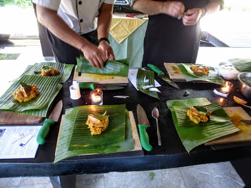 Indonesia. Bali Cooking Class. Learning how to wrap Tum Ikan.