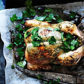 Roast Tarragon Chicken With Lemon, Caper And Olive Salad
