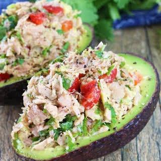 Healthy Tuna Stuffed Avocado.