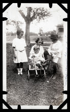 Photo: Tom Brandvold Album TBB188 / Girl on left unidentified.  Mabel, Elroy and Norman Fjelstad