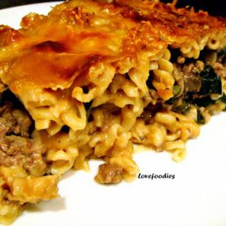 Beef & Spinach Pasta Bake.