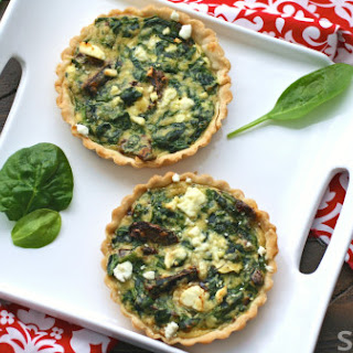 Mini Feta And Spinach Tarts With Sun-dried Tomatoes.