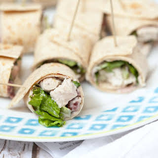Healthy Turkey Salad Roll Ups with Cranberry Cream Cheese.