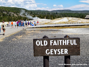 Photo: Crowd beginning to gather to watch Old Faithful Geyser