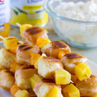 Grilled Donut and Fruit Kabobs with Mascarpone Cream.