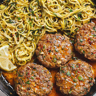 Cheesy Garlic Burgers with Lemon Butter Zucchini Noodles Recipe