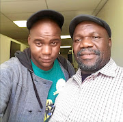 Thabo Mkhabela with Charles Maja, who plays his dad  Big Boy Mabitsela  in Skeem Saam.