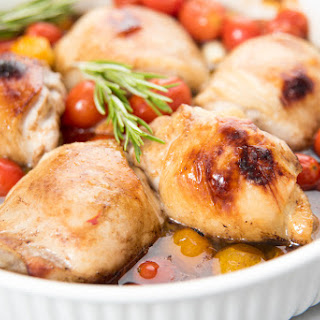 Paleo Roasted Chicken Thighs with Cherry Tomatoes