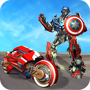 Captain of America Moto Robot Transform Dino Wars