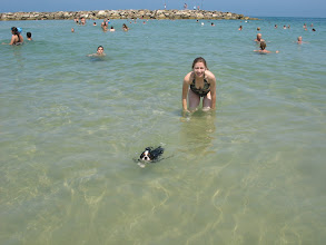 Photo: 5 months old - first time in water.