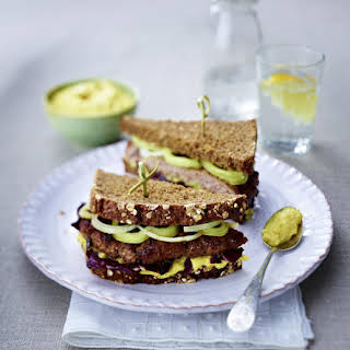 Burger on Whole Wheat Bread with Curried Apple Mayo.