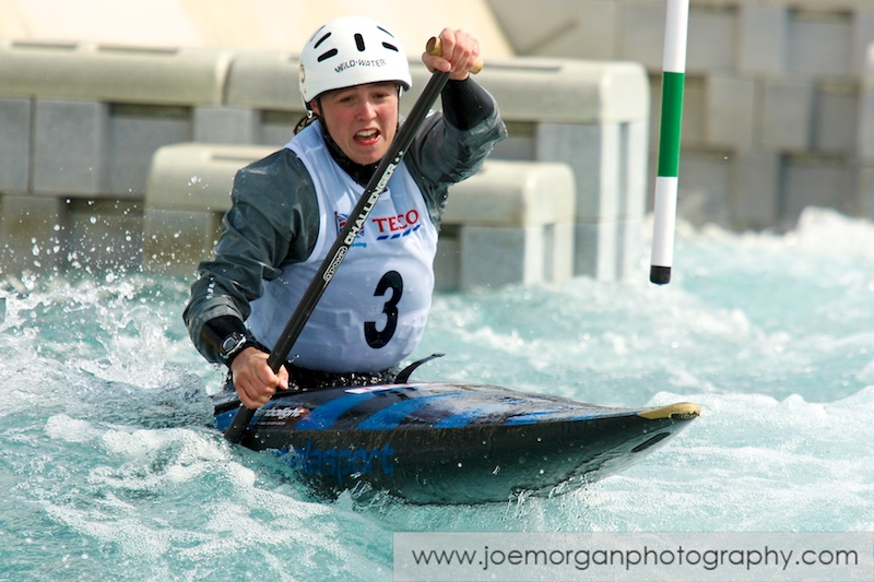 Photo: Jacquelyn Shaw of Ribble CC in the Women's Canoe single class during the Olympic Qualifier event at the Lee Valley water centre