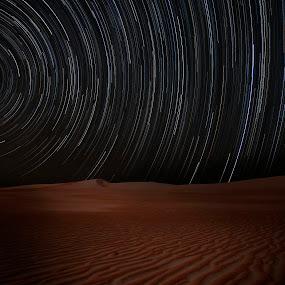 Empty Quarter Desert Star Trails by Souhayl Bk - Landscapes Starscapes ( sand, dunes, desert, no man's land, no person, dune, star, star trails )