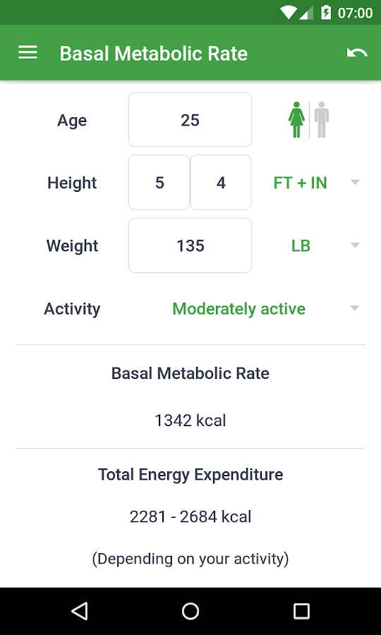 ... (BMR + PAL) to find your ideal weight based on age and gender