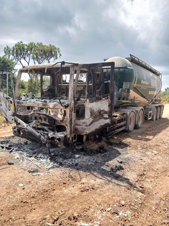 A lorry burnt by suspected al Shabaab militants in Milihoi, Lamu, on Sunday