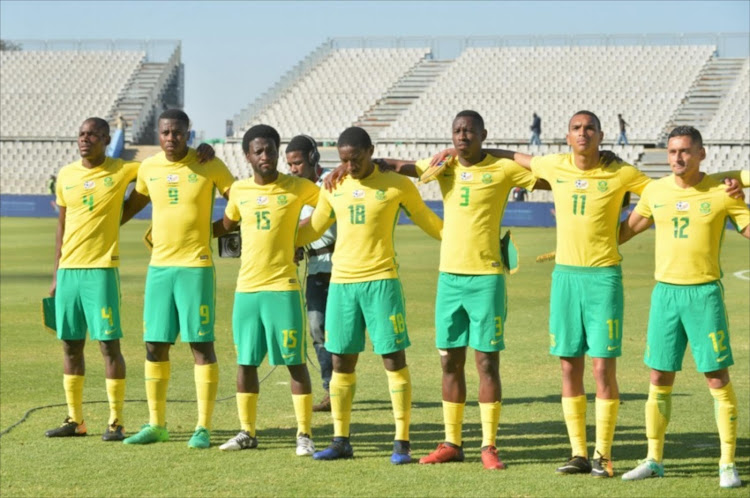 RUSTENBURG, SOUTH AFRICA - JULY 22: South Africa Team during the CHAN 2018 Qualifying - 2nd Leg match between South Africa and Botswana at Moruleng Stadium on July 22, 2017 in Rustenburg, South Africa.
