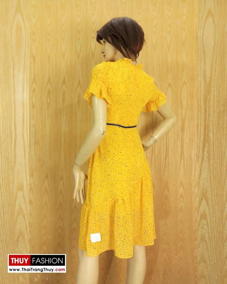 Váy xòe đuôi cá tay loe màu vàng V684 thời trang thủy hải phòng 3