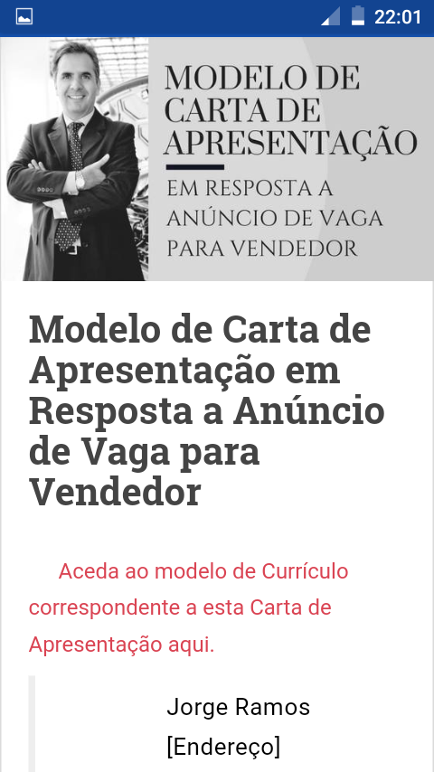 Currículo Pronto: captura de tela