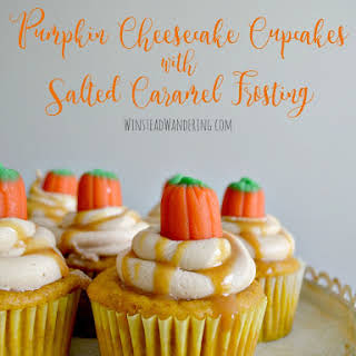 Pumpkin Cheesecake Cupcakes with Salted Caramel Frosting.
