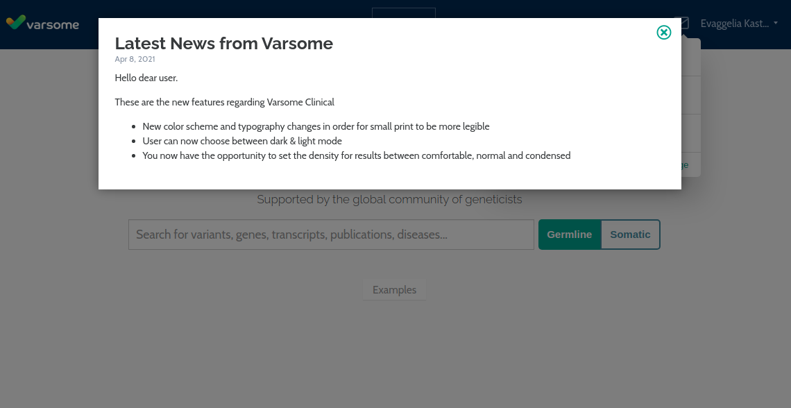 VarSome updates message