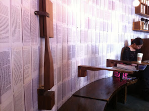 Photo: Drop down benches at McNally Jackson in Soho. They're held vertical with only a button.