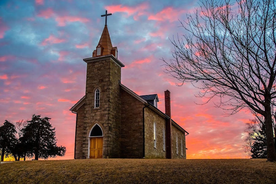 St. Patrick's by Ron Knight - Buildings & Architecture Places of Worship ( atchison, winter, church, sunset, kansas )