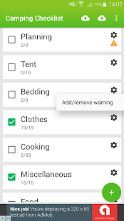 Camping Checklist - náhled