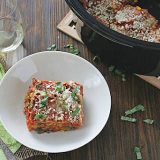 Summer Slow Cooker Lasagna with Zucchini and Eggplant.