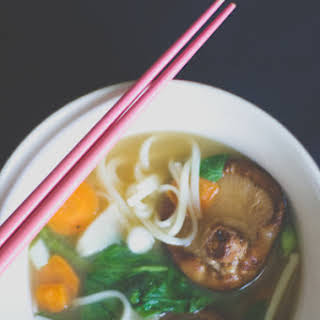 Miso Noodle Soup with Spinach, Shiitake & Bamboo Shoots.