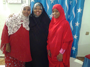 Photo: With Women Council for Girl-Child advocate Mrs Hani Bashir and fellow WorldPulse Voices of Our Future Correspondent Deqa at New-Rays Hotel in Garowe.