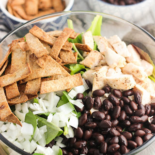 Chicken Salad with Spiced Tortilla Strips and Avocado Dressing.