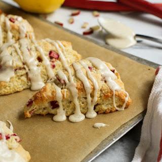 Lemon Rhubarb Scones with Vanilla Bean Glaze.