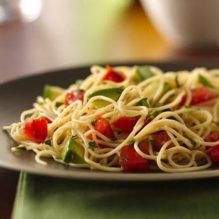Angel Hair Pasta with Avocado and Tomatoes.