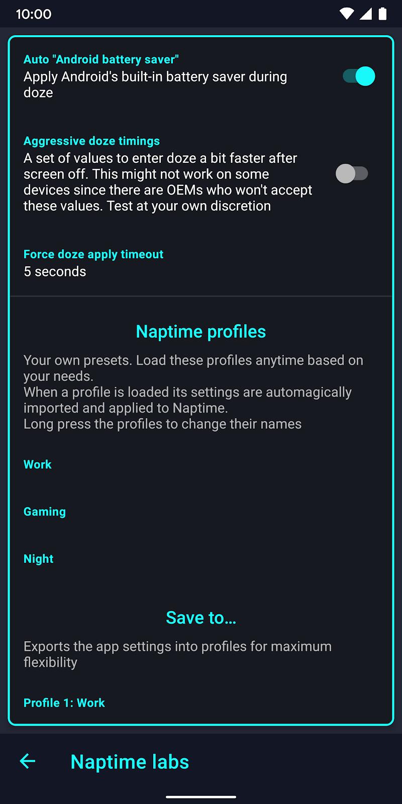 Naptime - the real battery saver Screenshot 2