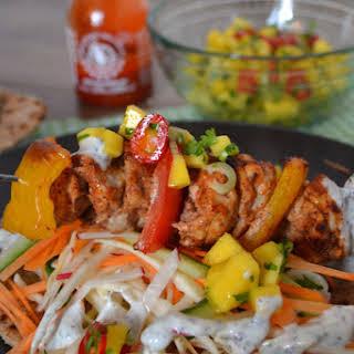 Healthy Chicken Kebabs with Wholewheat Flatbreads, Mango Salsa & Mint Yoghurt Dressing.