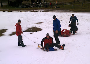 Photo: Dave about to disembark while Mark prepares to be the victim for his Brooks-Range sled.