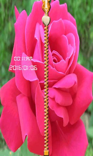 玫瑰拉链屏幕锁定