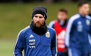Going for gold: Argentina's Lionel Messi, who is yet to win a trophy with his country, trains at Manchester City's home ground ahead of Friday's friendly against Italy. Picture: REUTERS