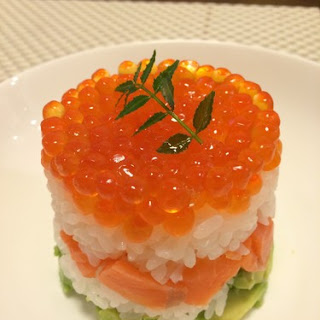 Salmon Caviar and Avocado Sushi Cake