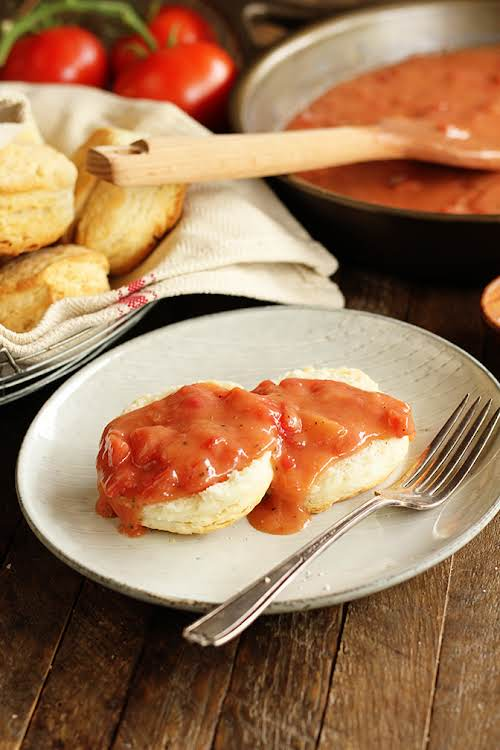 """Southern Tomato Gravy """"Tomato Gravy has always been a breakfast staple in..."""